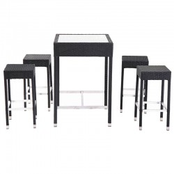 ENSEMBLE TABLE + 4 TABOURETS TRESSAGE GRIS